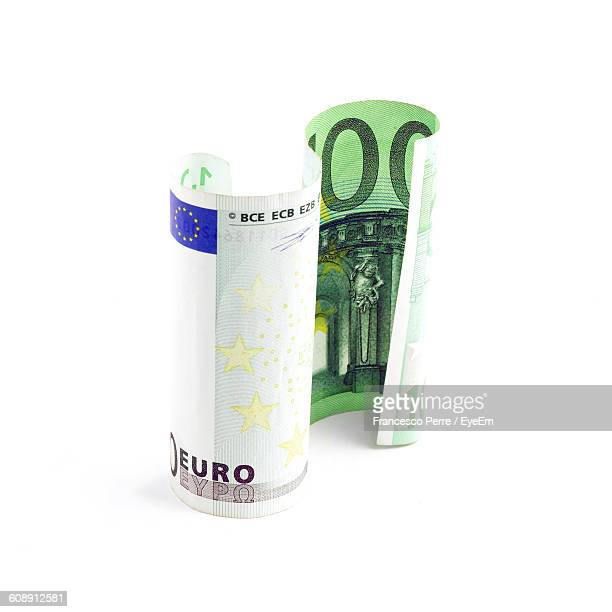 One Hundred Euro Banknote Against White Background
