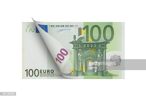 one hundred euro banknote (isolated) - euro symbol stock photos and pictures