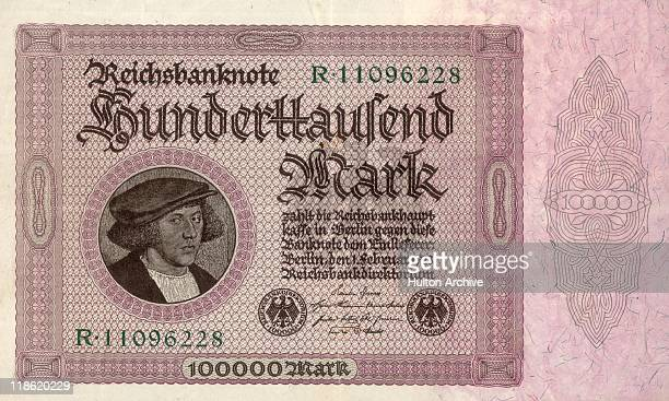 A one hundred thousand Mark banknote an example of hyperinflation in the Weimar Republic Germany February 1923 The period of hyperinflation in...