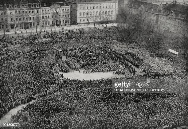 One hundred thousand people gathered in the square of Magdeburg cathedral swearing allegiance to the Republic Germany February 22 from...