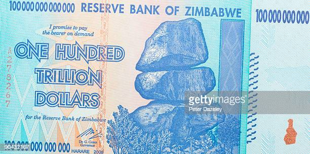 One hundred trillion dollar Zimbabwean note.