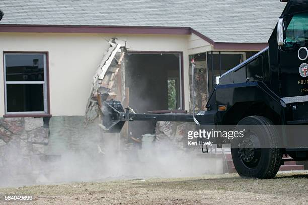 One in a series of photos where a home was demolished for the show Extreme Makeover Home Edition in Redondo Beach giving LAPD officer Cristina...
