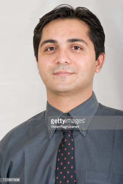One Indian Asian Businessman Adult People Vertical Young Manager Office