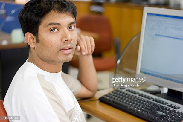 One Indian software engineer professional Office Worker Computer People Horizontal