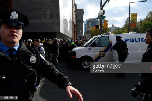 One is arrested after an altercation between alleged members of Proud Boys and counterprotestors at a We The People rally at Independence Mall in...