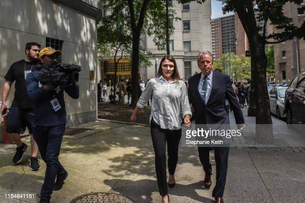 One Jeffrey Epstein's alleged victims Courtney Wild exits the courthouse after the billionaire financier appeared for a hearing on July 8 2019 in New...