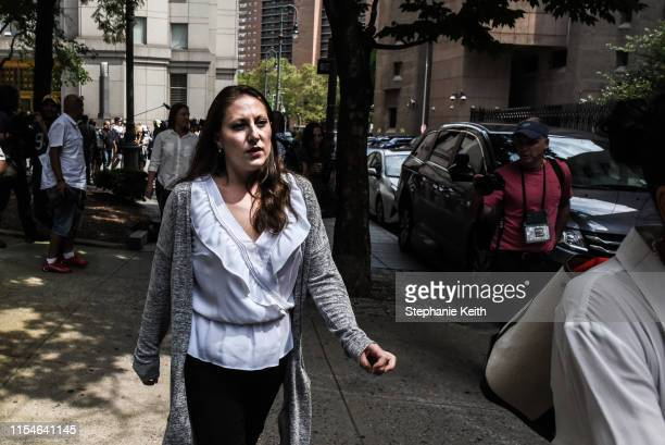 One Jeffrey Epstein's alleged victims Michelle Licata exits the courthouse after the billionaire financier appeared for a hearing on July 8 2019 in...