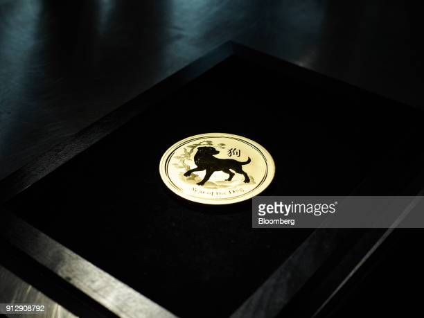 A one kilogram gold Year of the Dog Chinese lunar year commemorative coin sits on display inside the precious metals vaults at Pro Aurum KG in Munich...