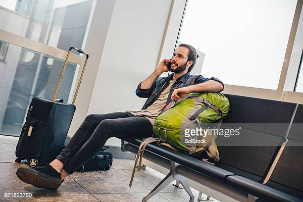 One Last Phonecall Before Boarding His Flight