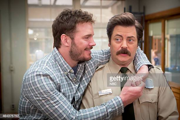 RECREATION One Last Ride Episode 712/713 Pictured Chris Pratt as Andy Dwyer Nick Offerman as Ron Swanson