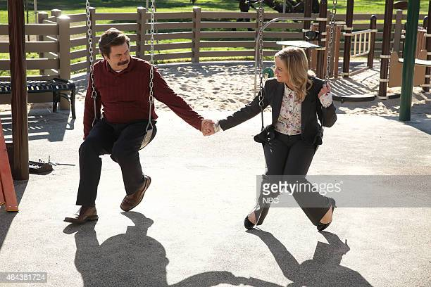 RECREATION One Last Ride Episode 712/713 Pictured Nick Offerman as Ron Swanson Amy Poehler as Leslie Knope