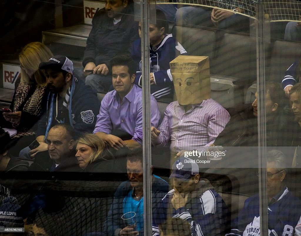 One Leafs Fan Wears A Paper Bag During The 1st Period Between The News Photo Getty Images