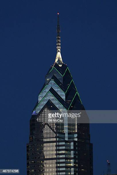 One Liberty Place is lit green for the National Landmarks Illuminated Across US to Shine Light on Ebola Crissis and Show Solidarity with West Africa...