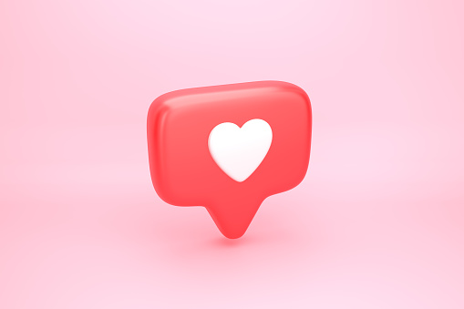 One like social media notification with heart icon 1090092336