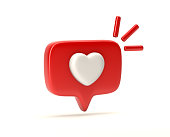 One like social media notification with heart icon