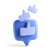 One like social media notification with thumb up icon