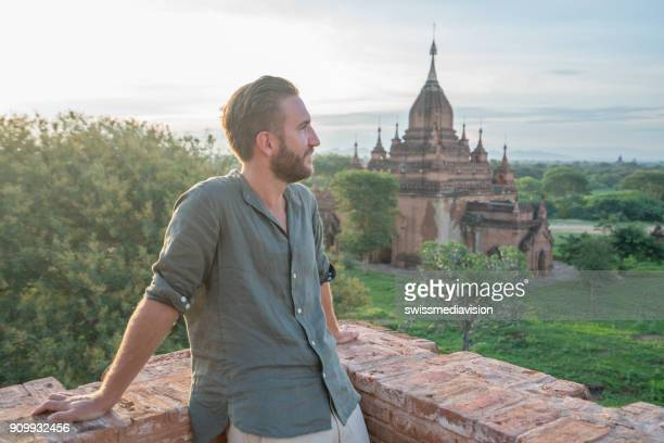 One male looking at ancient temples in Bagan, Myanmar