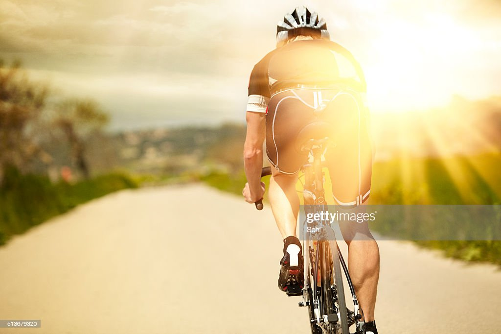One man and his bicycle : Stock Photo