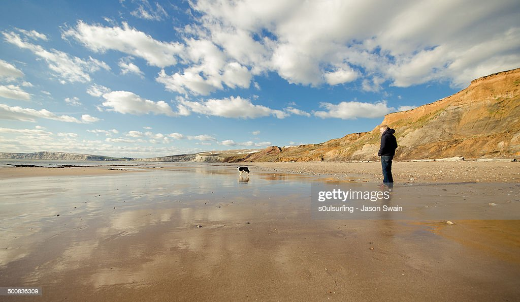 One man and his dog : Stock Photo