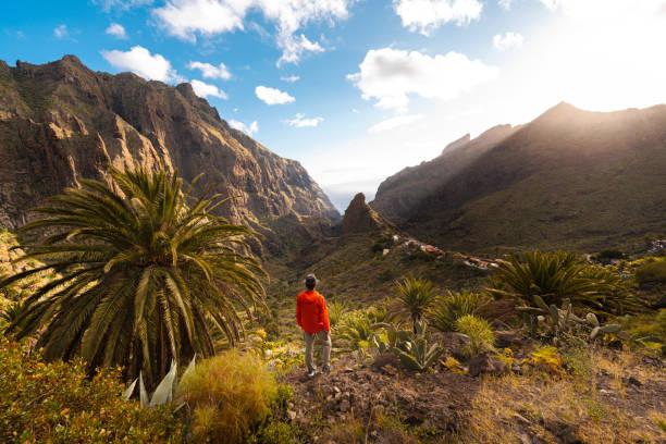 One man hiking in Masca. Tenerife, Spain