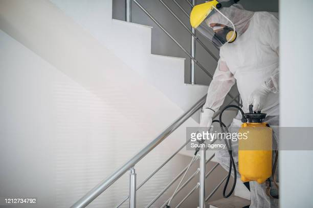 one man in protective suit spraying the house , and disinfecting the staircases - disinfection stock pictures, royalty-free photos & images