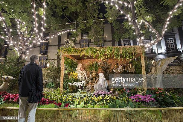 One man looks for the Christmas crib set up in Funchal on December 29, 2016 in Funchal, Madeira, Portugal.