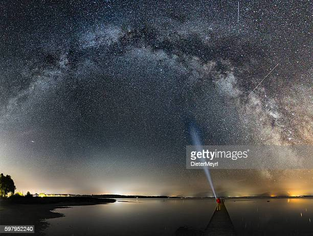 One man on Jetty enjoy Milky Way at Lake Chiemsee
