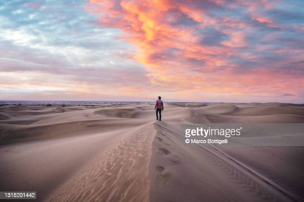 one man standing on top of a sand dune at sunrise, grand canary, spain - mediterranean culture stock pictures, royalty-free photos & images