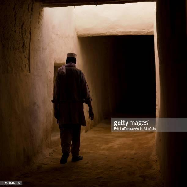 One man walking in the roofed streets, Tripolitania, Ghadames, Libya on October 26, 2007 in Ghadames, Libya.