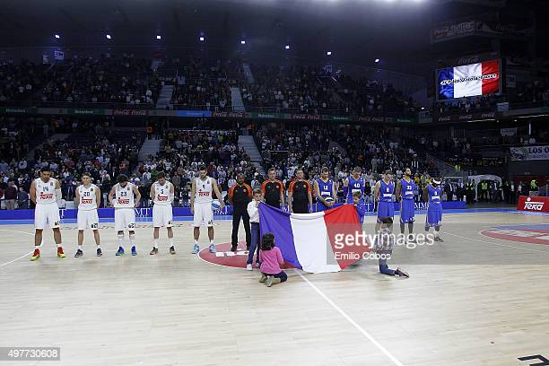 A one minute of silence for the victims of the Paris terror attacks is observed before the game during the Turkish Airlines Euroleague Regular Season...
