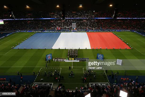 One minute of silence for Tribute to The Victims of The Paris Terrorist Attacks before the French Ligue 1 between Paris SaintGermain and ESTAC Troyes...