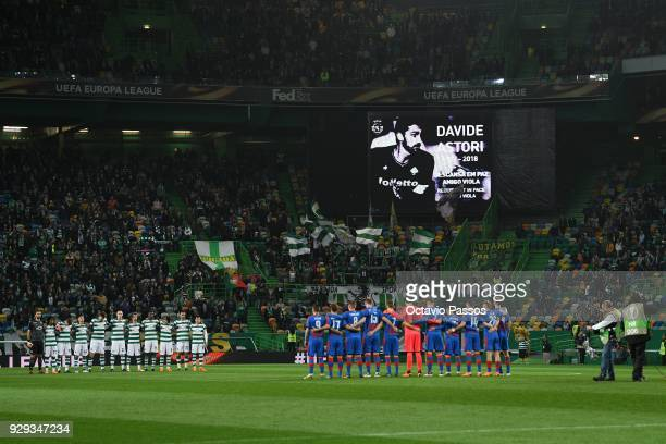 One minute of silence in memory of Davide Astori during the UEFA Europa League Round of 16 first leg match between Sporting Lisbon and Viktoria Plzen...