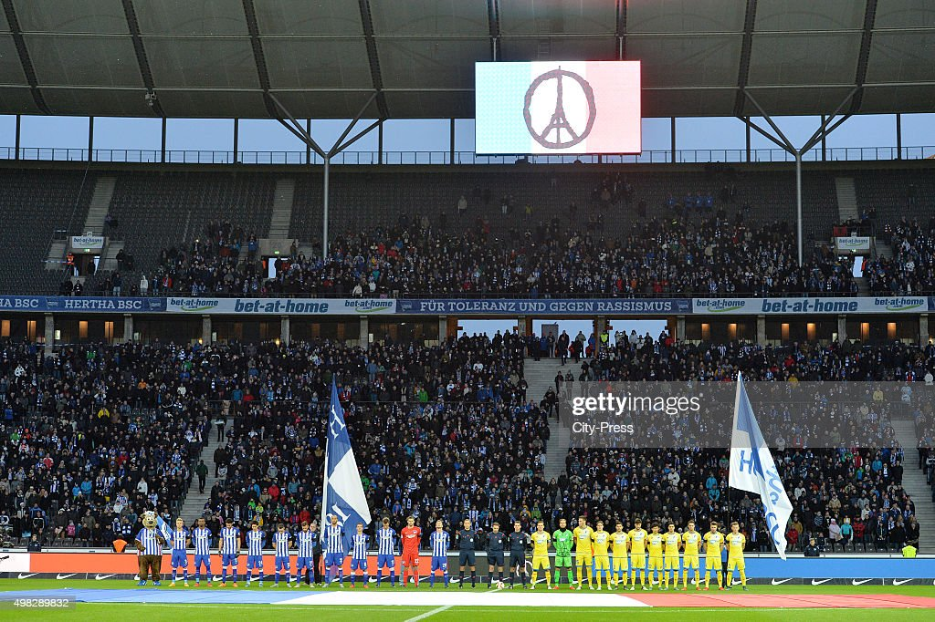 One minute silence is held for the victims of Paris during the Bundesliga match between Hertha BSC and TSG Hoffenheim on November 22, 2015 in Berlin, Germany.