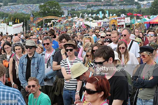 One minute silence is observed in memory of murdered Member of Parliament Jo Cox at the Park Stage at the Glastonbury Festival at Worthy Farm, Pilton...