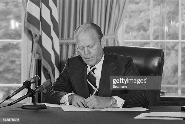 One month after Richard Nixon's resignation over the Watergate scandal President Ford signs his pardon
