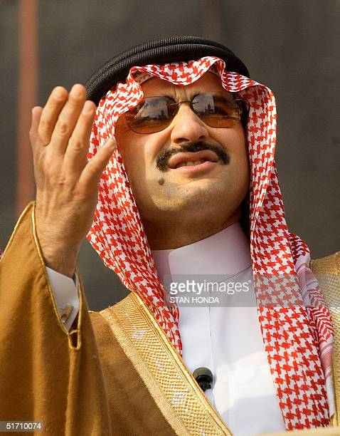 One month after the terrorist attacks on the World Trade Center Prince Alwaleed Bin Talal Bin AbdulAziz of Saudi Arabia views the activity at ground...