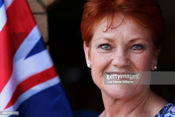 One Nation Senator Pauline Hanson attends a barbeque in Buderim to meet local supporters and speak with media on September 21 2017 in Sunshine Coast...