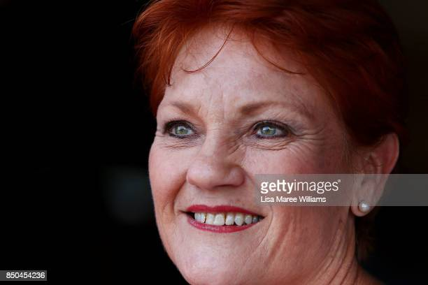 One Nation Senator Pauline Hanson attends a barbeque in Buderim to meet local supporters and the media on September 21 2017 in Sunshine Coast...