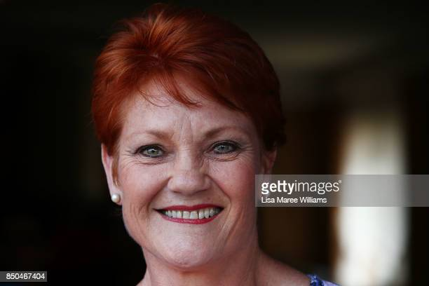 One Nation Senator Pauline Hanson attends a barbeque in Buderim to meet local supporters and to speak with the media on September 21 2017 in Sunshine...