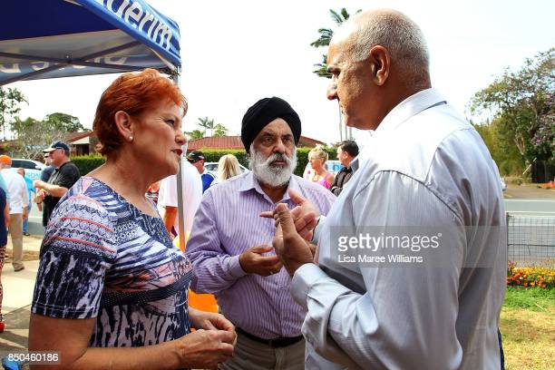One Nation Senator Pauline Hanson meets local members of the taxi industry during a barbeque in Buderim on September 21 2017 in Sunshine Coast...
