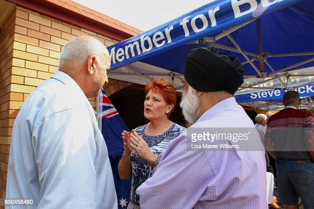 One Nation Senator Pauline Hanson speaks with local supporters during a barbeque in Buderim on September 21 2017 in Sunshine Coast Australia Under...