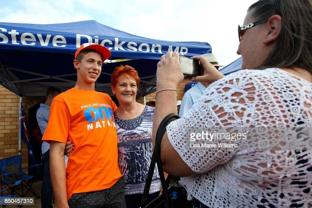 One Nation Senator Pauline Hanson takes a photo with a supporter during a barbeque in Buderim on September 21 2017 in Sunshine Coast Australia Under...