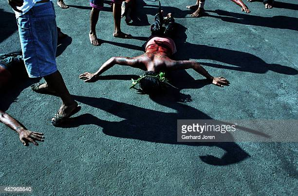 One of 200 inmates that performed self flagellation on Good Friday. The ritual is to show repent for their crimes and to bring good luck back to...