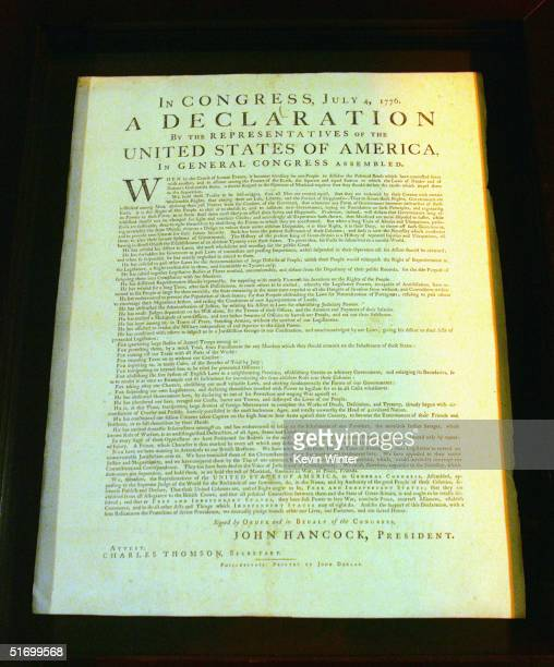 One of 25 Dunlap Broadside copies known to exist of the Declaration of Independence owned by producer Norman Lear is displayed at the afterparty for...