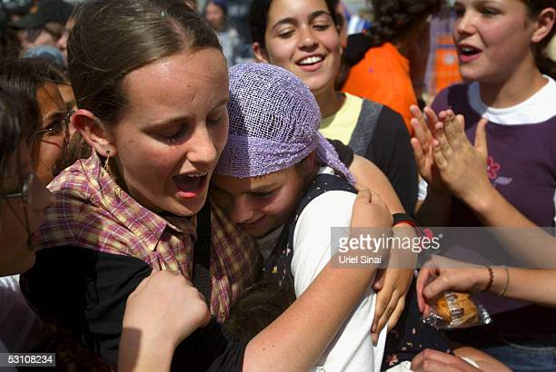 One of 5 Young Jewish settler girls is given a heros welcome on their return from Israeli detention on June 20 in the settlement of Ariel West Bank...