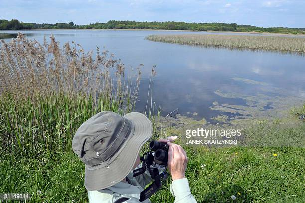 One of a group of British bird watchers enjoys Biebrza National Park on May 16 2008 The park which with a total of 59233 hectares is the country's...