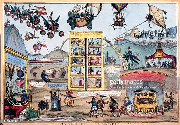 One of a series of colour etchings published by T McLean of Haymarket London Paul Pry's 'March of Intellect' series of satirical prints was published...
