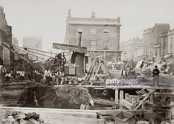 One of a series of photographs by Henry Flather showing the construction undertaken between 1866 and 1870 of the Metropolitan Railway's underground...