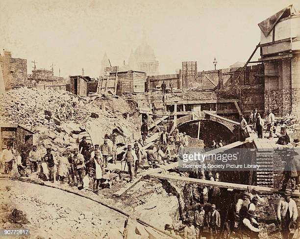 One of a series of photographs by Henry Flather showing the construction, undertaken between 1866 and 1870, of the Metropolitan District Railway's...