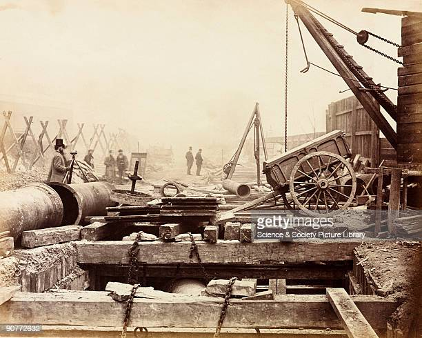 One of a series of photographs by Henry Flather showing the construction undertaken between 1866 and 1870 of the Metropolitan District Railway's...
